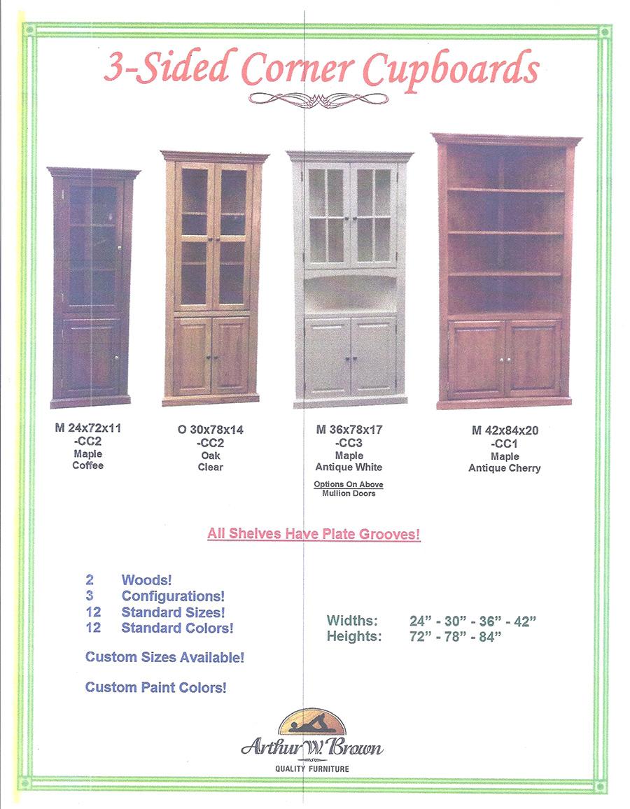 3 sided corner cabinets