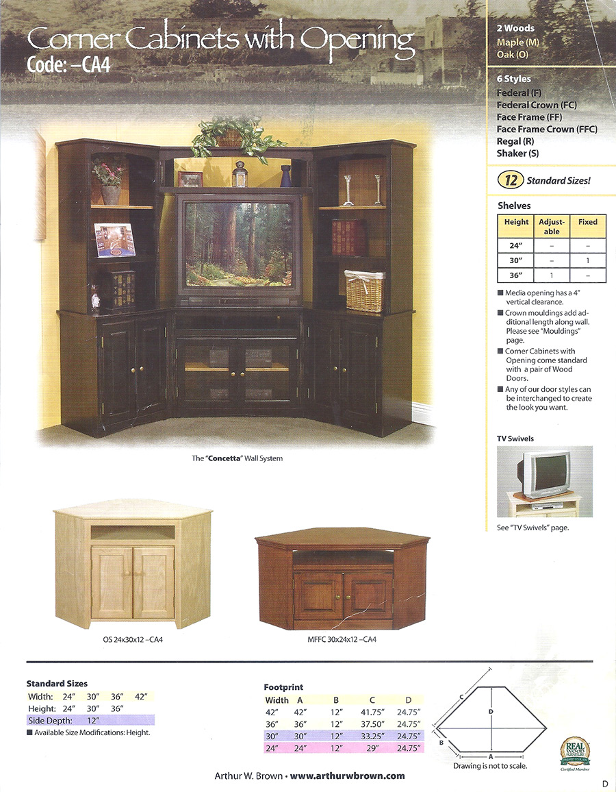 corner cabinets with openings