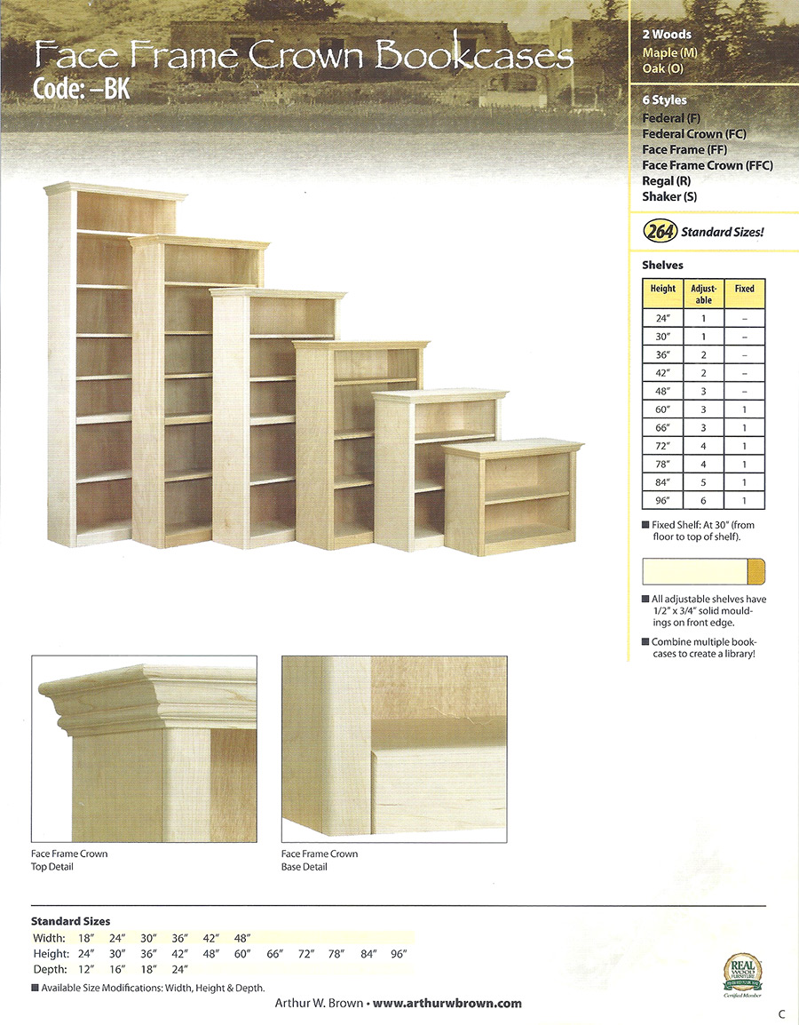face frame crown bookcases